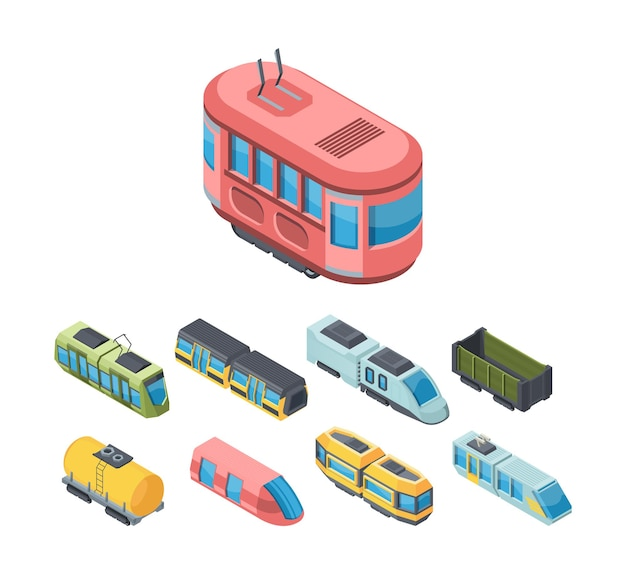 市の公共交通機関のアイソメトリック3dイラストセット。高速鉄道輸送。 Premiumベクター