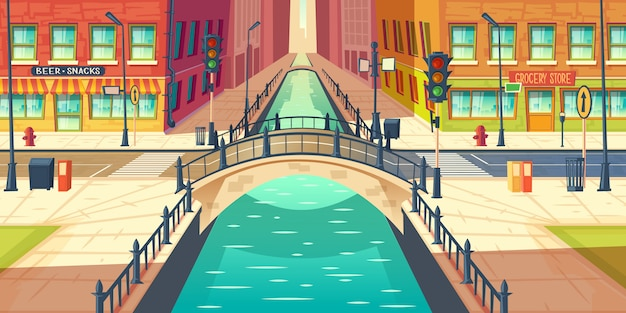 City quay, water channel on town street cartoon vector with empty sidewalks, grocery store and bar or beer pub showcases, city road crossing river with retro architecture arch bridge illustration Free Vector