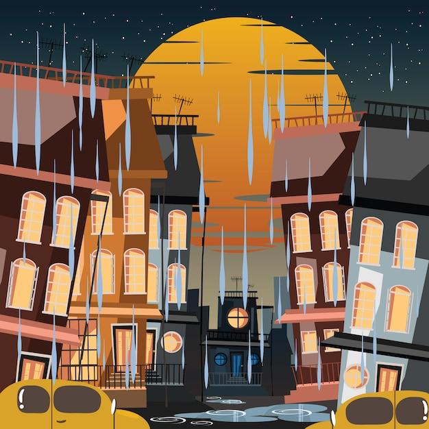 City in rainy day vector illustration Premium Vector
