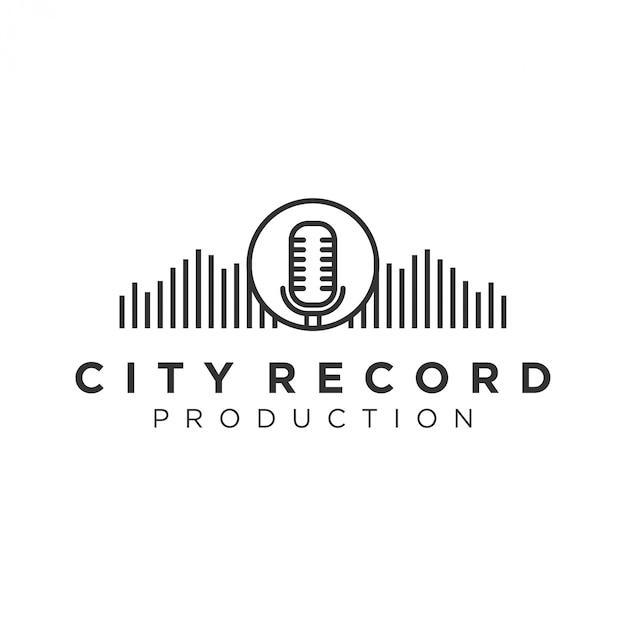 レコーディングとキャスティング業界のためのcity recordのロゴ Premiumベクター