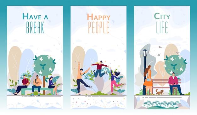 City recreational park vector promotional leaflets Premium Vector
