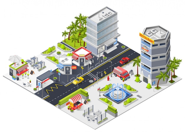 City restaurants and cafe isometric composition Free Vector