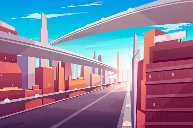 City road, empty streetscape freeway, speed two-lane highway, overpass or bridge in modern megapolis. Free Vector