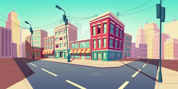 Городская дорога превращается в пустую улицу с транспортным шоссе Бесплатные векторы