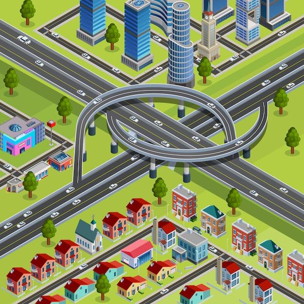 City roads junction interchange isometric poster Free Vector
