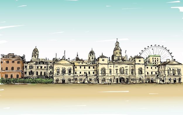 Рисунок городского пейзажа в лондоне, англия, показать старый замок и карусель, иллюстрация Premium векторы