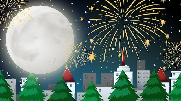 City scene with celebration fireworks view from park Free Vector