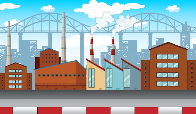 City scene with factories and buildings Free Vector
