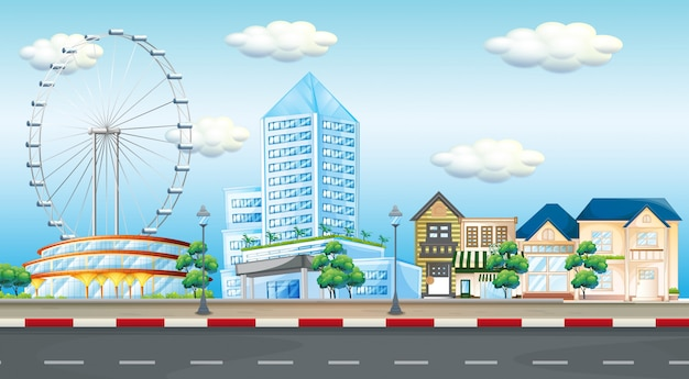 City scene with ferris wheel and buildings Free Vector