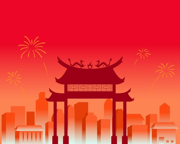 City scenery on chinese new year celebration Premium Vector