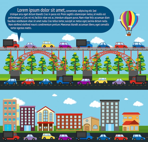 City scenes with cars on the road Free Vector