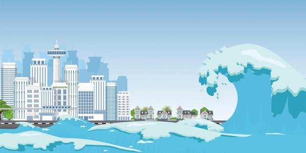 City on seashore destroyed by tsunami waves. Premium Vector
