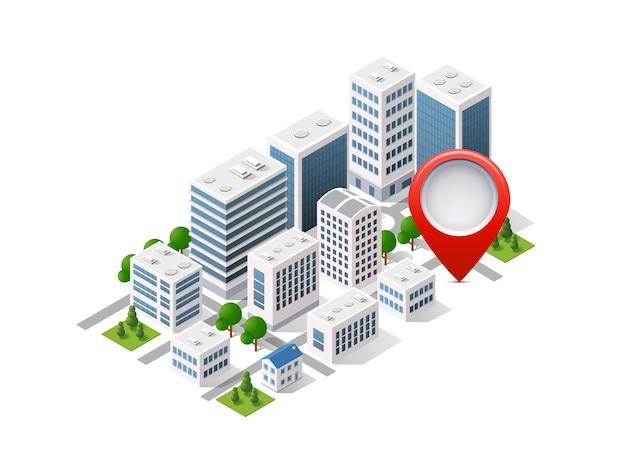 City set of isometric of urban infrastructure Premium Vector