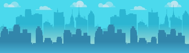 City skyline illustration, blue city silhouette. Premium Vector