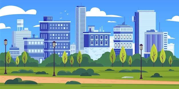 City skyline landmarks illustration Free Vector