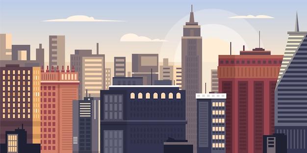 City skyline landmarks illustration Free Vector
