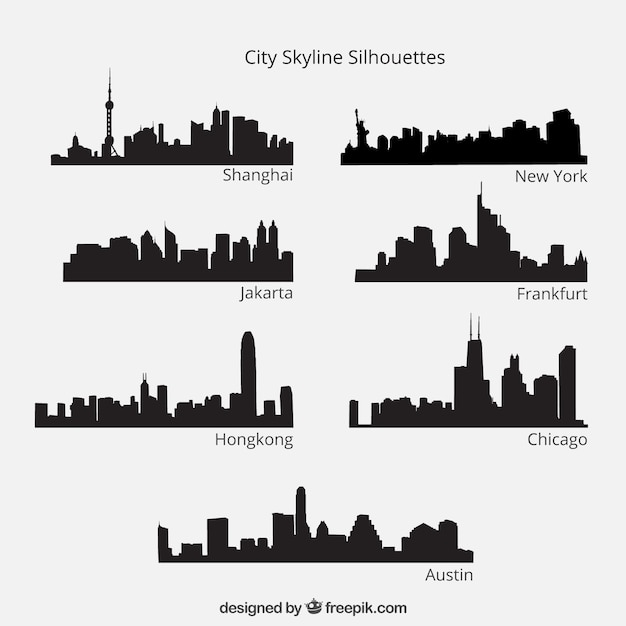 City skyline silhouettes pack Free Vector