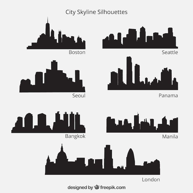 City Skyline Silhouettes Pack Premium Vector