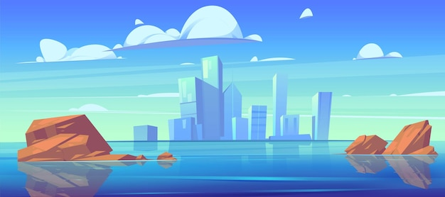 Городской горизонт с силуэтами зданий и отражением в воде реки или озера. Бесплатные векторы