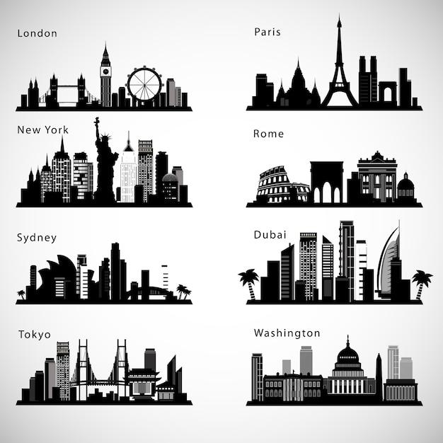 Набор горизонтов города. Premium векторы