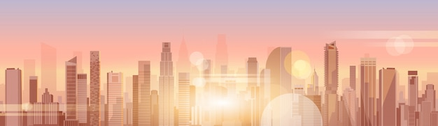 City skyscraper view cityscape background skyline silhouette with copy space Premium Vector