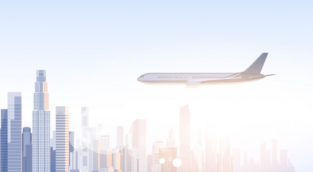 City skyscraper view cityscape flying plane skyline silhouette with copy space infographics Premium Vector