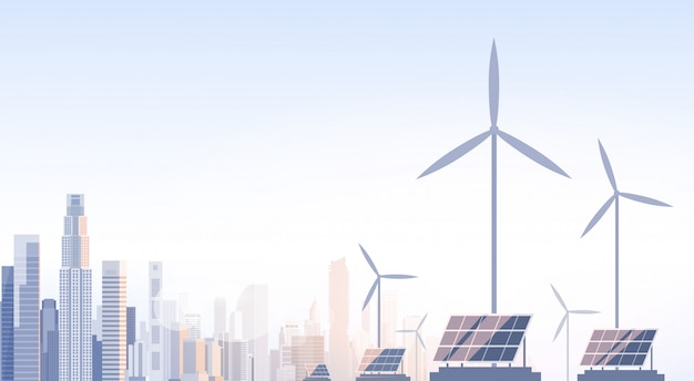 City skyscraper view cityscape wind tribune solar battery renewable energy source Premium Vector