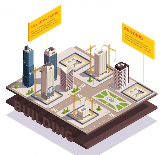 City skyscrapers isometric composition with images of sliced ground layers with modern tall buildings under construction vector illustration Free Vector