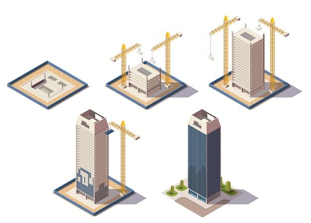 Composizione isometrica nei grattacieli della città con le immagini isolate del cantiere che rappresentano le fasi differenti dell'illustrazione di vettore di processo di costruzione Vettore gratuito