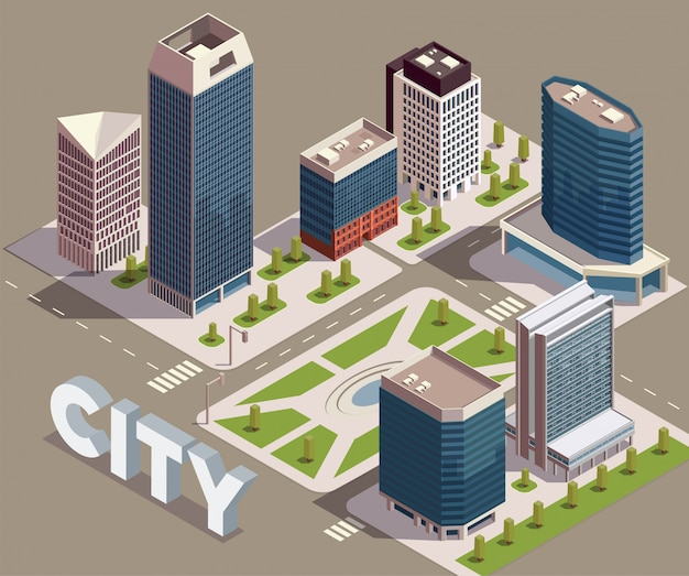 City skyscrapers isometric composition with view of city block with modern tall buildings streets and text vector illustration Free Vector