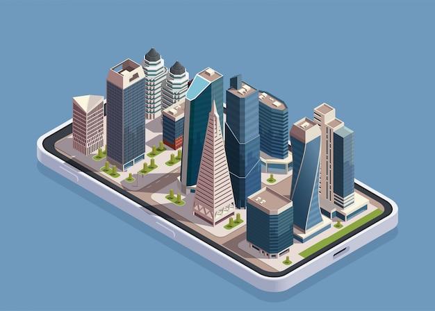 Il concetto isometrico dei grattacieli della città con il corpo del telefono e il blocco di costruzioni moderne sopra lo schermo vector l'illustrazione Vettore gratuito