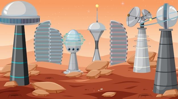 City in space scene Free Vector