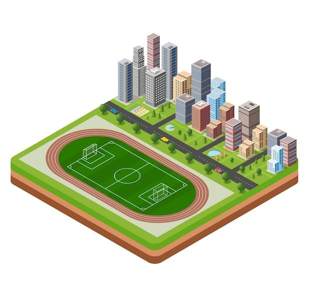 City stadium with a highway Premium Vector
