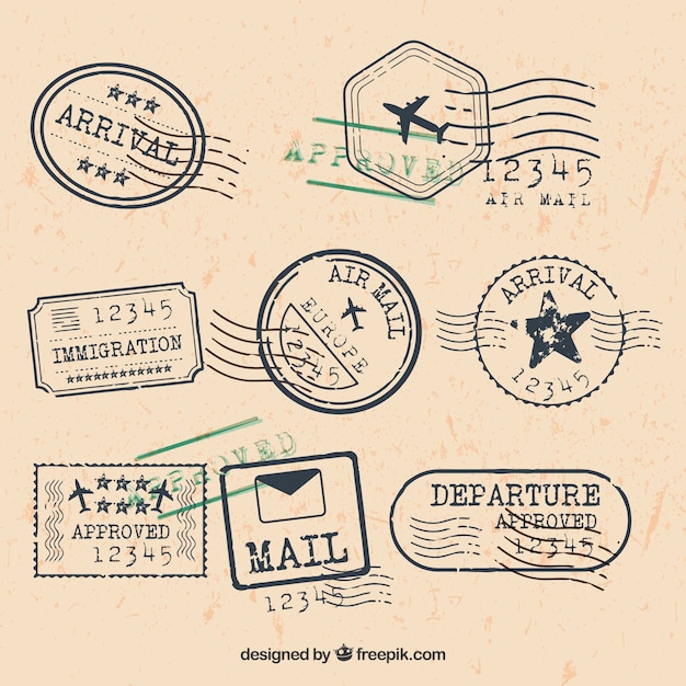City stamps collection in retro style Free Vector