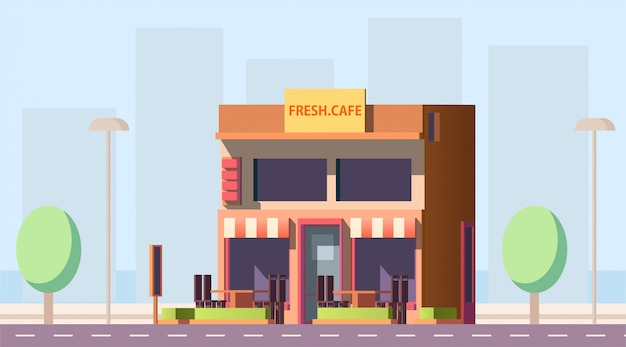 City street cafe building Free Vector