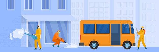 City street disinfection,  illustration. people in protective suit work against coronavirus, epidemic quarantine prevention. Premium Vector