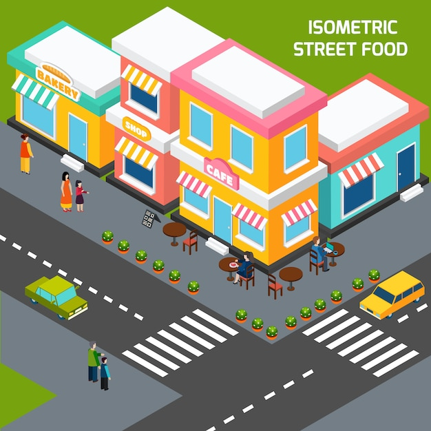 City street food cafe isometric poster Free Vector