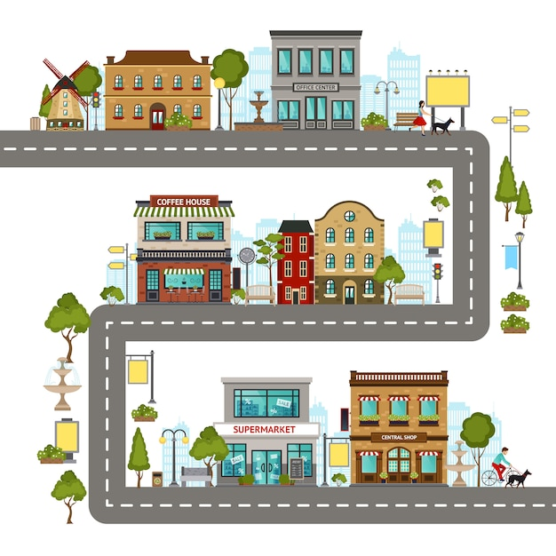 City street illustration Free Vector