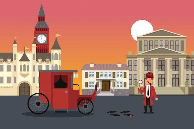 Исследование улицы города, иллюстрация результата шерлока холмса. мужчина с увеличительным стеклом осматривает доказательства преступления, кровь Premium векторы