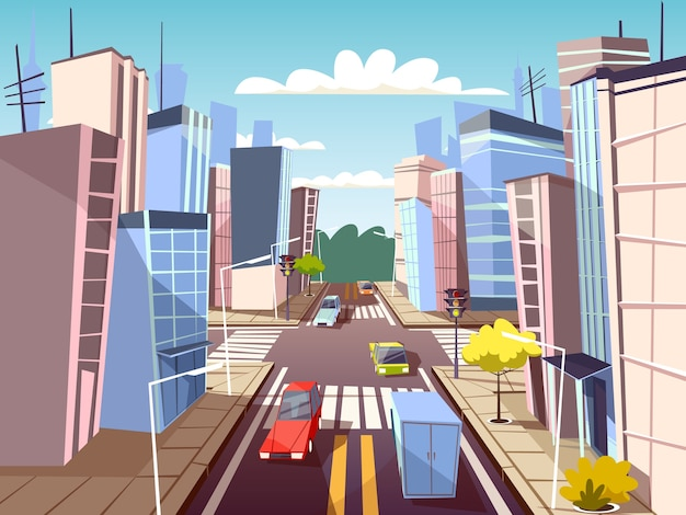 City street of urban cars transport on traffic lane and pedestrian crosswalk  Free Vector