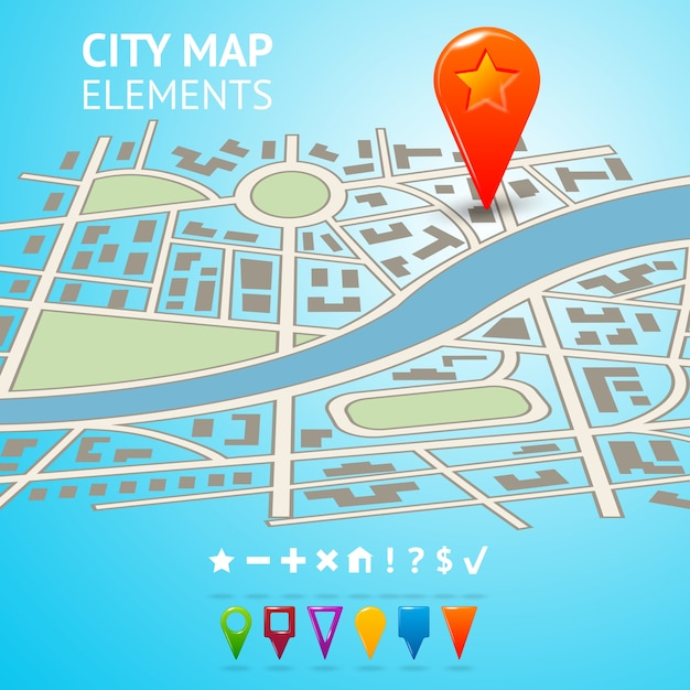 City street road route decorative map with navigation markers and pins vector illustration Free Vector