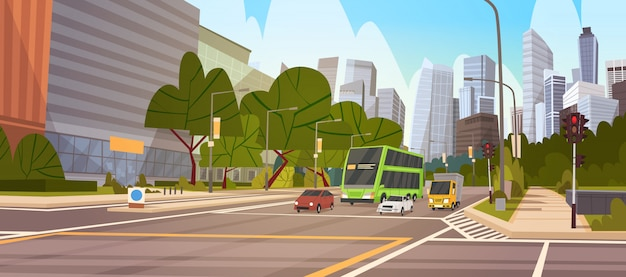 City street skyscraper buildings road view modern cityscape singapore downtown Premium Vector