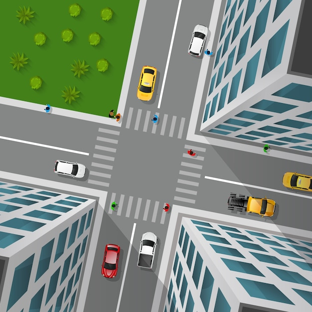 City street top view Free Vector