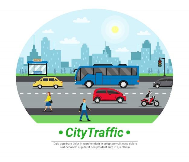 City street traffic flat circleテンプレート 無料ベクター