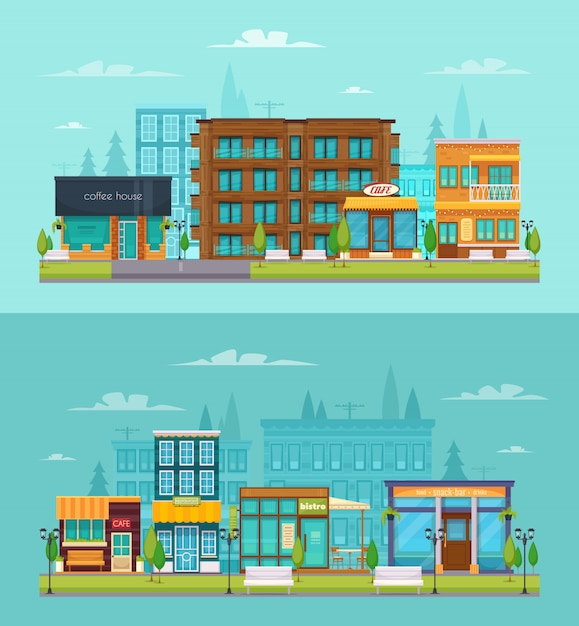 City street view 2 flat horizontal banners set with coffee house snack bar cafe isolated Free Vector