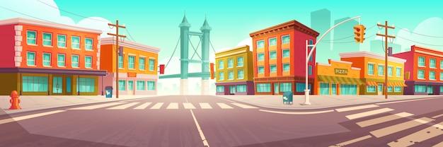 Городская улица с домами и путепровода Бесплатные векторы