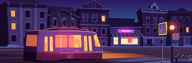 City street with houses, tram and empty car road with pedestrian crosswalk at night Free Vector