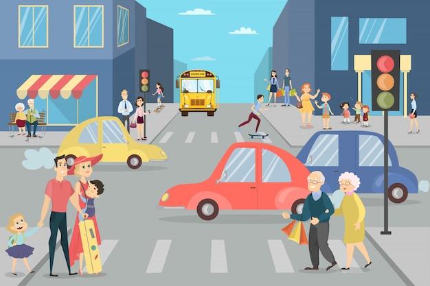 사람들과 도시 거리. 어린이, 어린이 및 성인을 가진 부모. 프리미엄 벡터