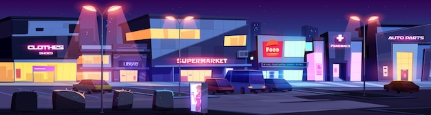夜はお店や商業ビルが立ち並ぶ街並み。カフェ、図書館、薬局、スーパーマーケット、街灯に照らされた車の駐車場がある漫画の街並み。お店のある夜の街 無料ベクター