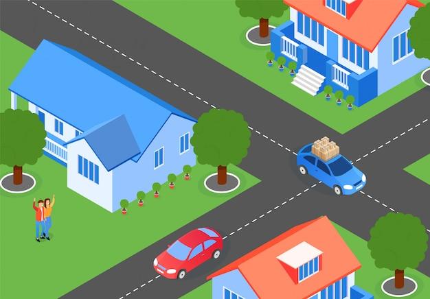 City streets neighboring houses cartoon flat Premium Vector